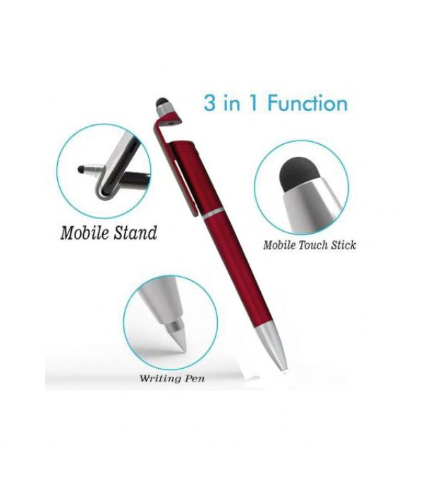 Klowage 3 in 1 Smartphone Stand Holder, Screen Wipe and Ballpoint Pen Mobile Phone Holder for All Smartphones (red) Ball Pen