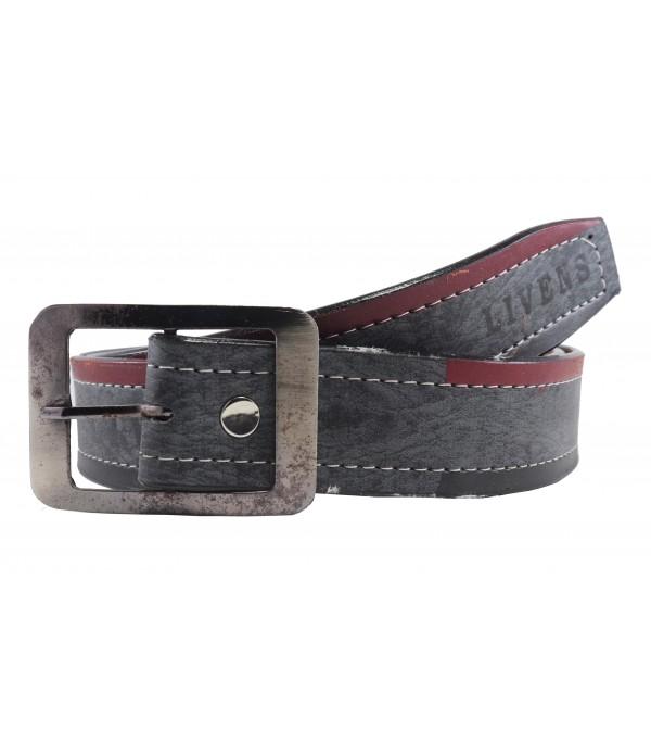 Men's Leatherette Formal Belt (Black, Fr...