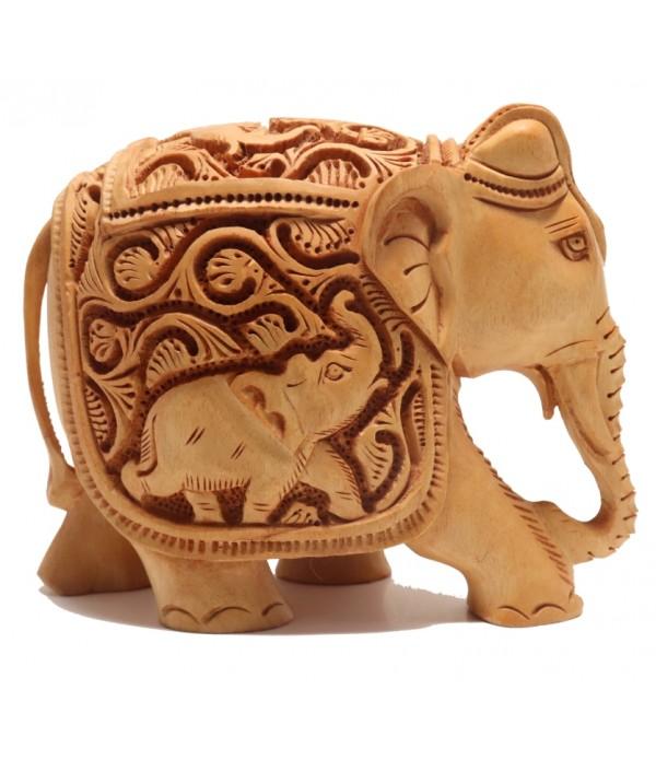 WOODEN ELEPHANT ( L 13.00 CM X H 10.50 C...