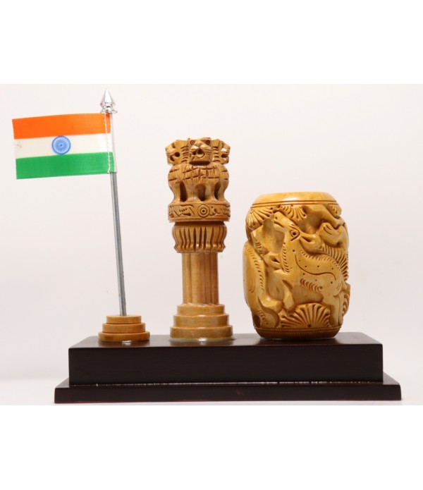 WOODEN ASHOKA PILLAR WITH PEN STAND AND ...