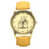 GET The Look Analogue Brown Dial Men's & Boy's I can do it Watch