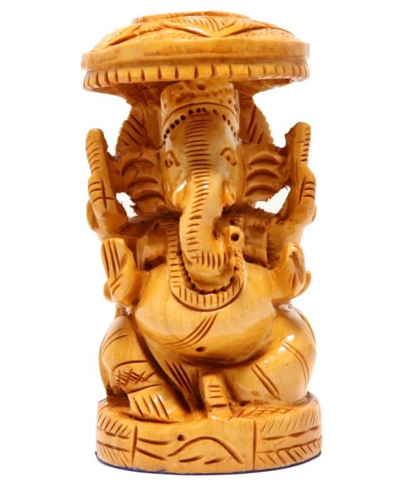 Wooden Ganesh Idol L 10 cm X W 5.5 cm