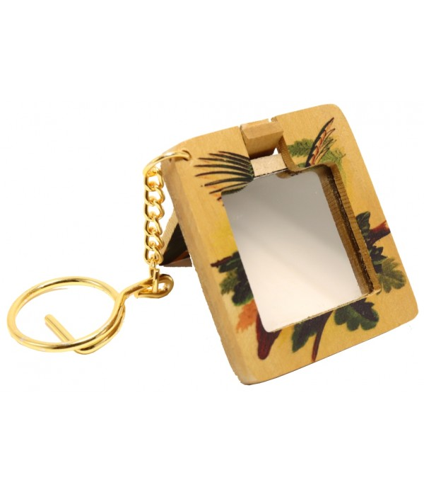 Wooden Key Chain With Mirror and Painting of Bird ( H 5.00 CM X L 4.50 CM )