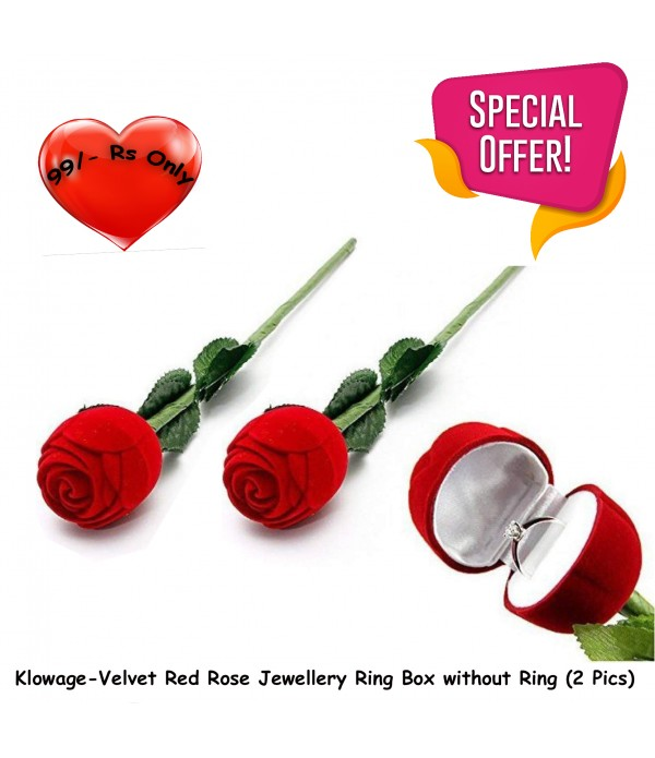 Klowage-Velvet Red Rose Jewellery Ring Box without Ring (Pack of 2)