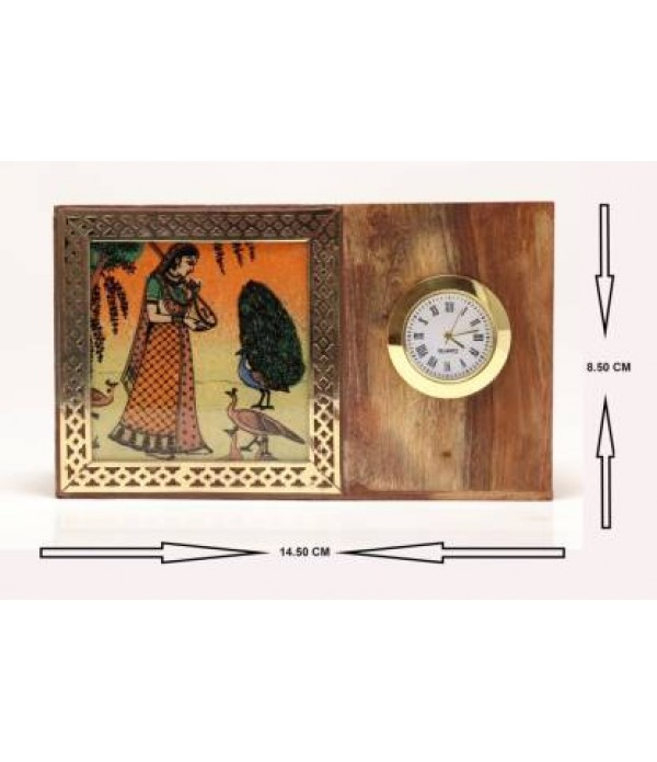 Klowage Pen Stand with Clock and Painting Decorative Showpiece - 8.5 cm  (Wood, Multicolor)