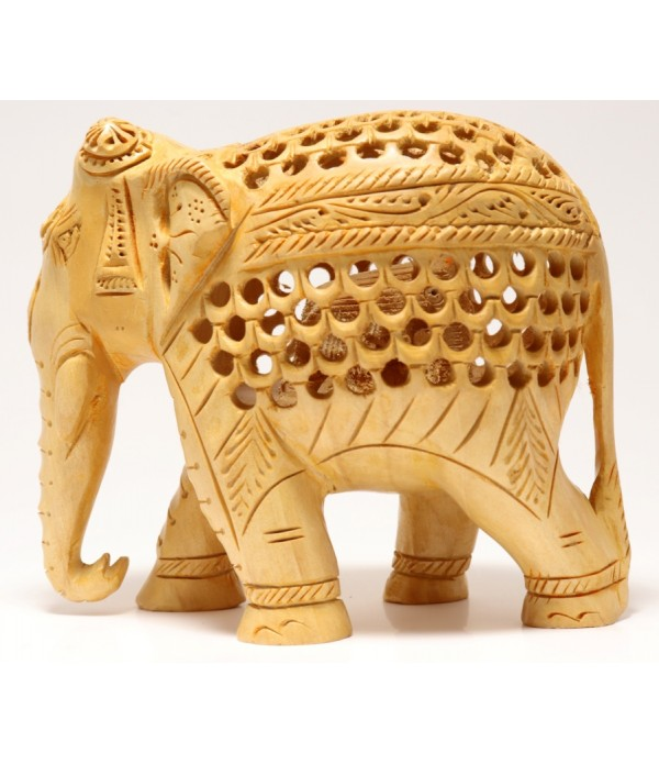 WOODEN ELEPHANT ( L 12.40 CM X H 10 CM )