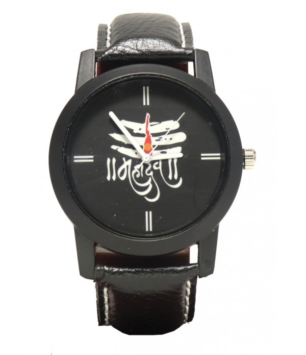 Mahadev Shiva Analogue Black Dial Leathe...