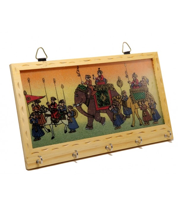 WOODEN KEY HOLDER WITH PAINTING ( L 21.50 CM X H 12.50 CM )