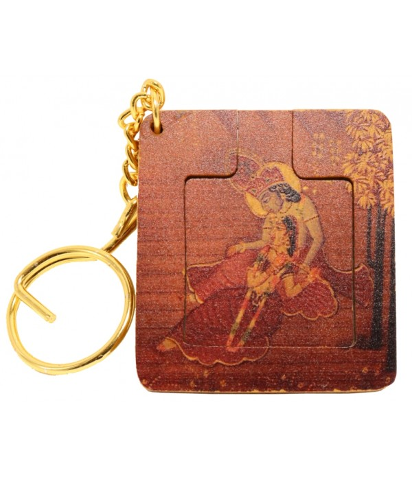 Wooden Key Chain With Mirror and Paintin...