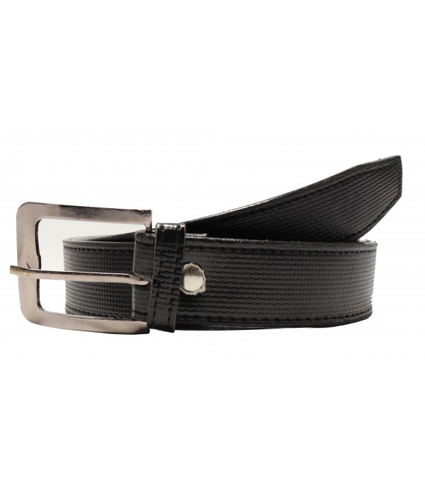Men's Leatherette Formal Belt (Black, Fr...