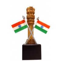 ASHOKA PILLAR WOODEN WITH INDIAN FLAGE ( L 6.00 CM X H 21.00 CM )