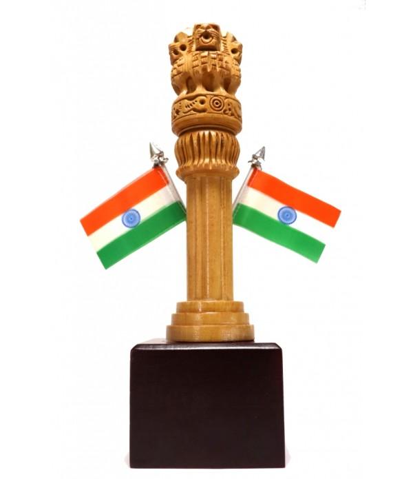 ASHOKA PILLAR WOODEN WITH INDIAN FLAGE ( L 6.00 CM X H 21.00 CM )