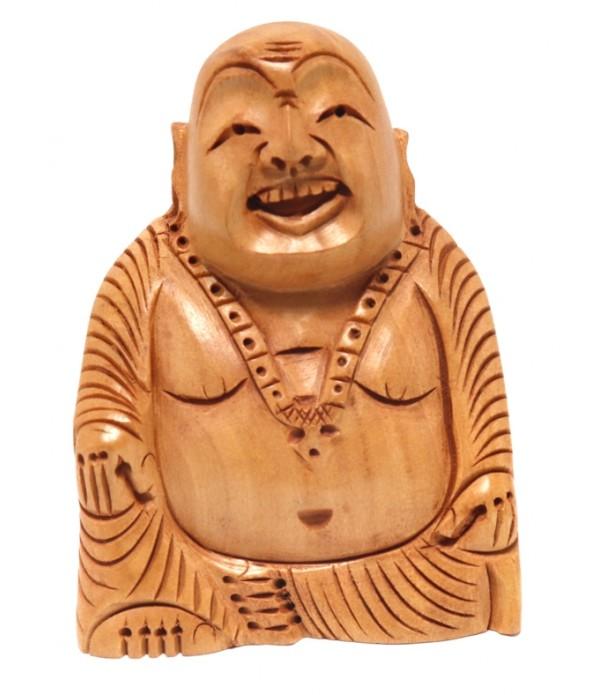 Wooden Laughing Buddha statue ( H 8.00 CM X L 6.00 CM )
