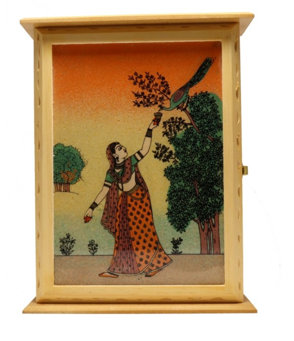 WOODEN KEY HOLDER WITH PAINTING ( L 16.0...
