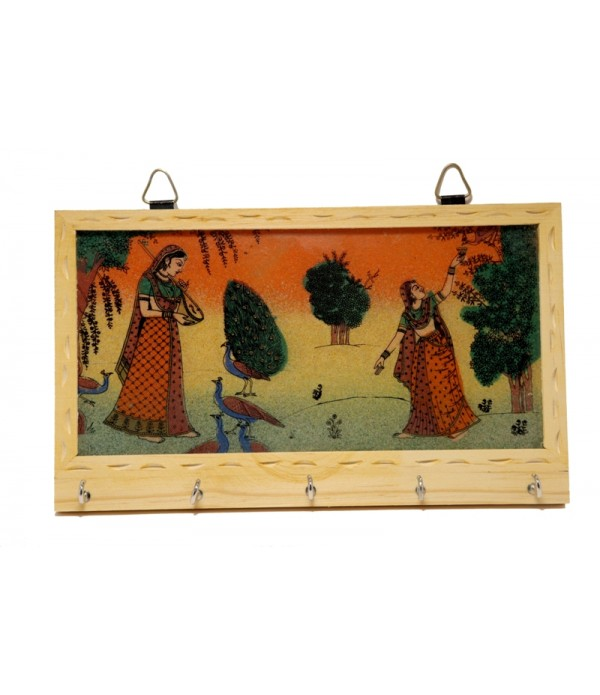 WOODEN KEY HOLDER WITH PAINTING ( L 21.5...
