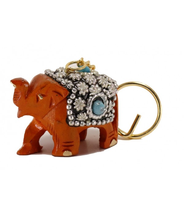 Wooden Elephant Key Chain With Stone wor...