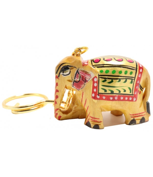Wooden Elephant Key Chain With Painting ...
